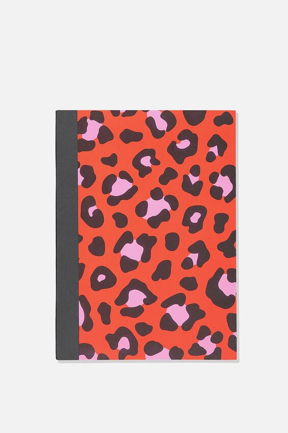 A5 Graduate Journal, RED PINK LEOPARD
