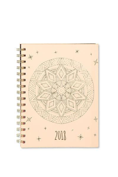 2018 Soft Cover Diary, PINK MANDALA