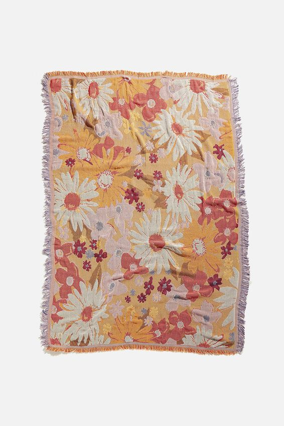 Woven Throw, PINK FLORAL