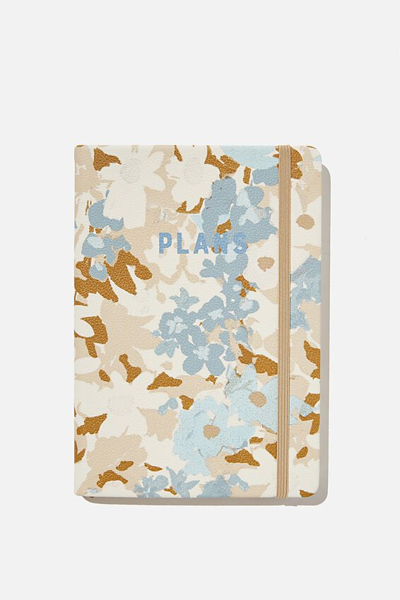 A5 Undated Weekly Buffalo Diary, BLUE DAPHNE FLORAL