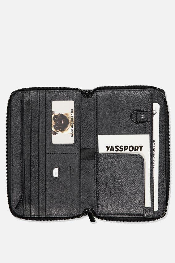 Rfid Odyssey Travel Compendium Wallet, BLACK PATENT QUILT