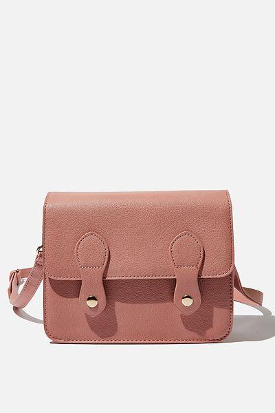 Mini Buffalo Satchel Bag, DUSTY ROSE