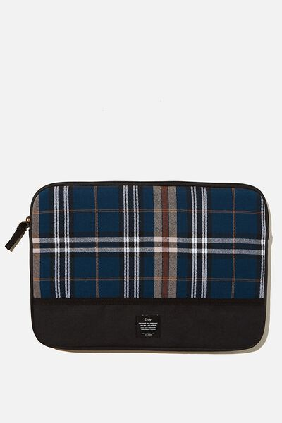 Take Me Away 13 Laptop Case, TEAL RUSSET CHECK WITH BLACK SPLICE
