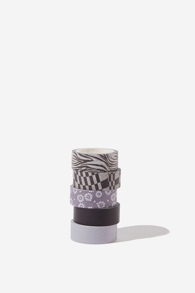 Washi Tape 5Pk, STAMPED DAISY GREY