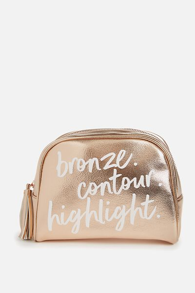 Kyoto Cosmetic Bag, ROSE GOLD QUOTE