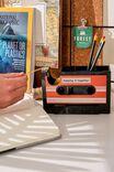 Cassette Tape Dispenser And Pen Holder, BLACK