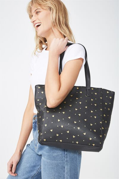 Premium Beach Tote Bag, LCN BLACK MICKEY DITSY PRINT