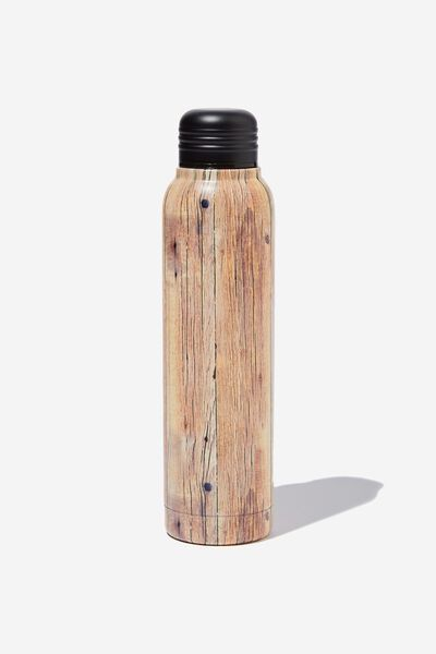 Small Metal Drink Bottle, ROUGH TIMBER