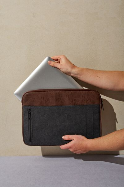 Take Charge Laptop Cover 13 inch, BLACK & RICH TAN