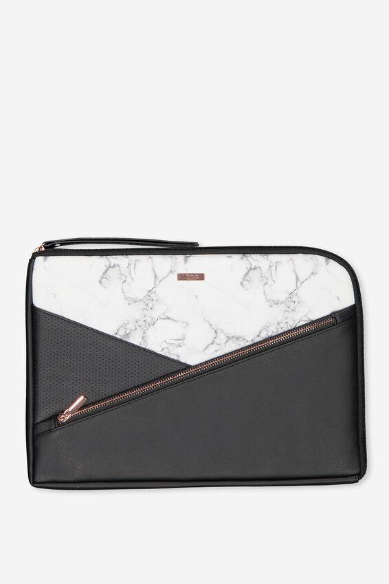 "Premium Laptop Case 13"", WHITE MARBLE SPLICE"