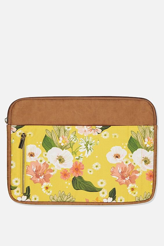 Take Charge Laptop Cover 13 inch, MUSTARD FLORAL