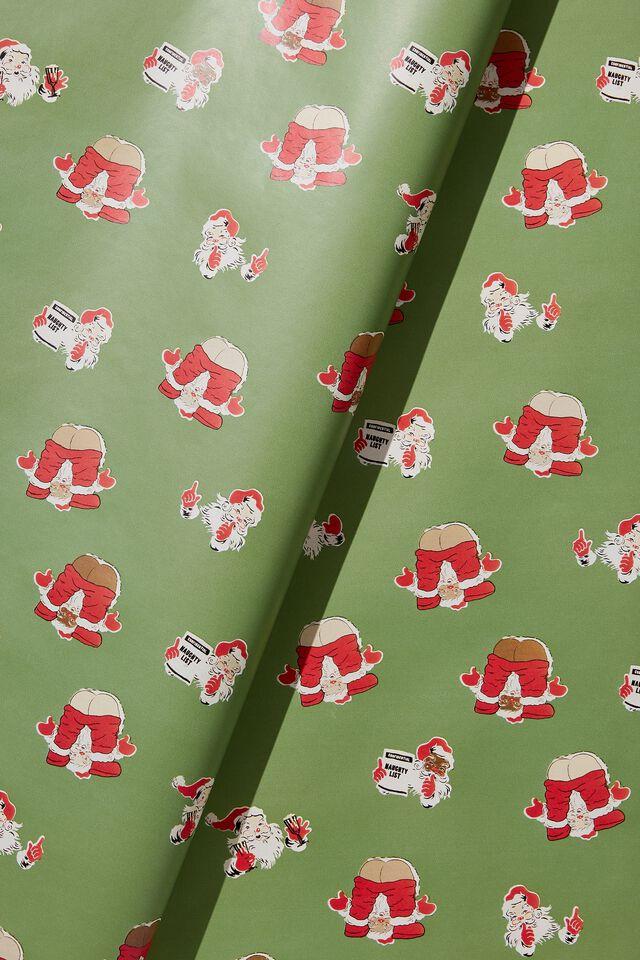 Christmas Wrapping Paper Roll, NAUGHTY SANTA!