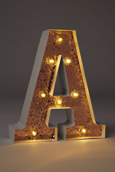 Small Marquee Letter Lights 23cm, WHITE WITH ROSE GOLD GLITTER A