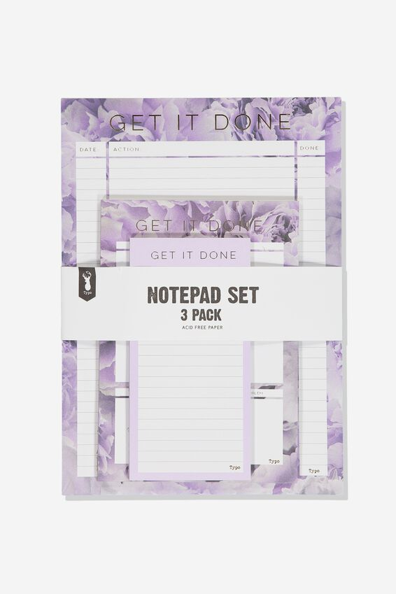 Notepad 3Pk, PEONY FLORAL LILAC