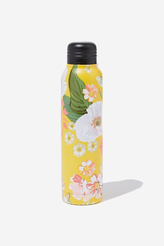 Small Metal Drink Bottle, YELLOW FLORAL