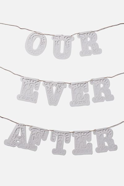 Quote Bunting, WHITE LACE OUR EVER AFTER