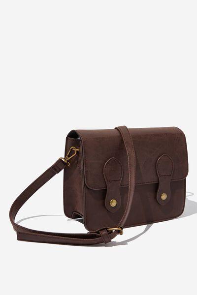Mini Buffalo Satchel Bag, RICH TAN