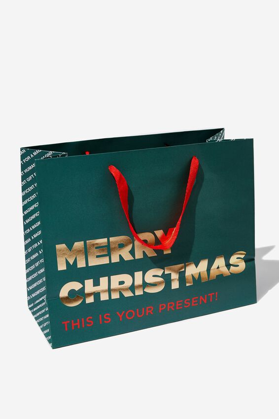 Stuff It Gift Bag - Medium, GREEN MERRY CHRISTMAS