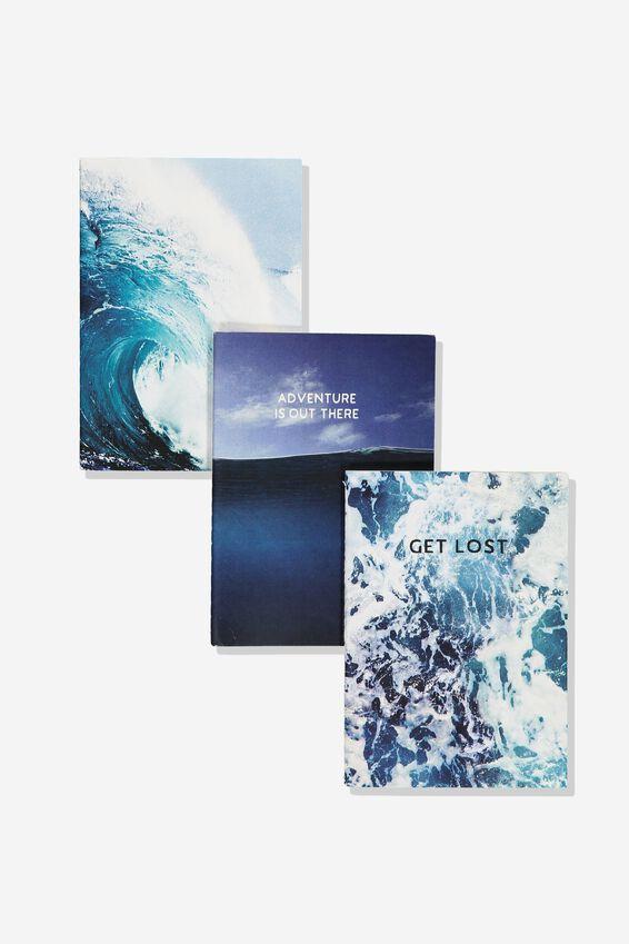 3Pk Small Notebooks, OCEAN WAVES