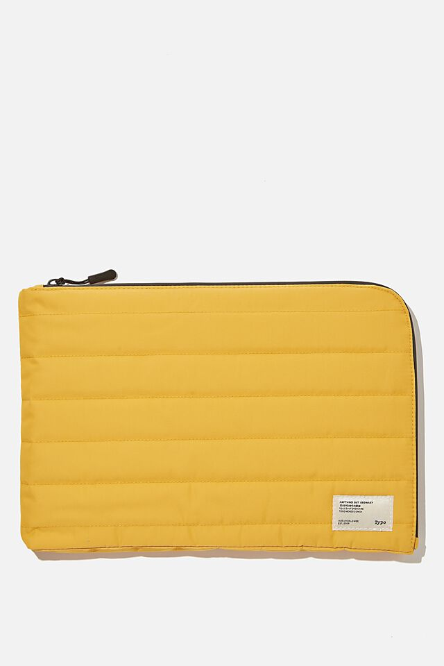 Utility Recycled 11 Inch Laptop Case, MUSTARD AND KHAKI
