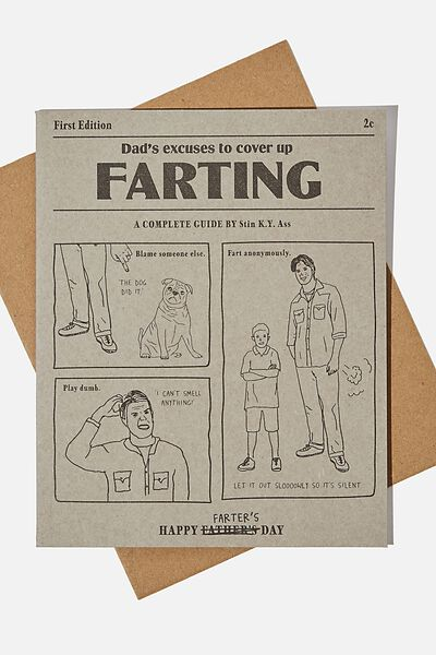 Fathers Day Card, HAPPY FARTERS DAY EXCUSES
