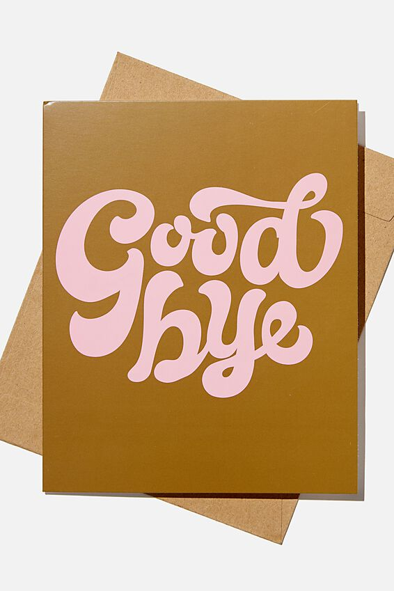 Goodbye Card, GOODBYE 70'S PLASTIC PINK