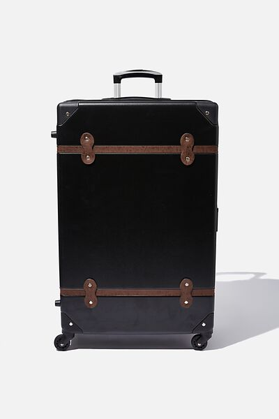 Large Travel Trunk Suitcase, BLACK