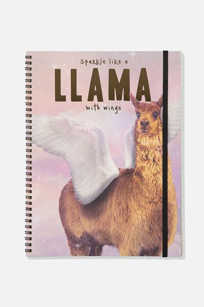 A4 Spinout Notebook - 120 Pages, LLAMA SPARKLE WINGS