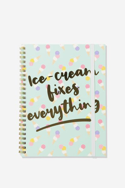 A5 Spinout Notebook - 120 Pages, ICE CREAM FIXES EVERYTHING