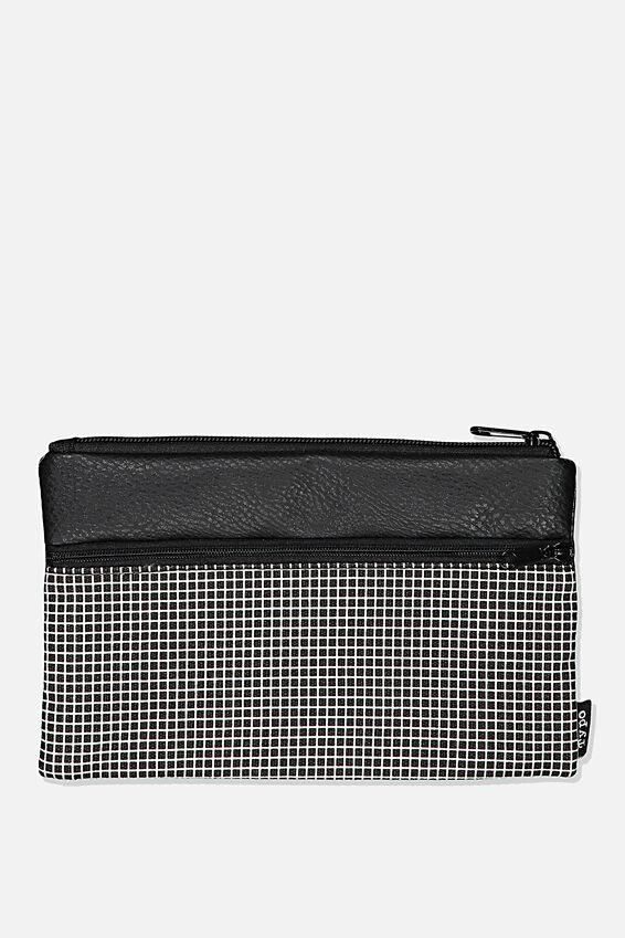 Archer Pencil Case, BLACK GRID