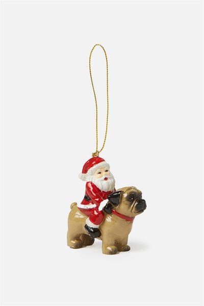 Christmas Ornament, SANTA RIDING PUG