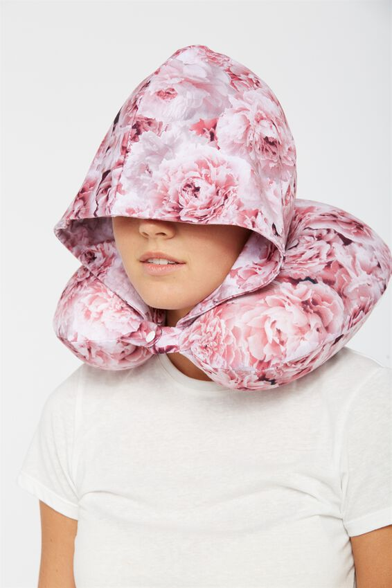 Hooded Travel Neck Pillow, PINK FLORAL