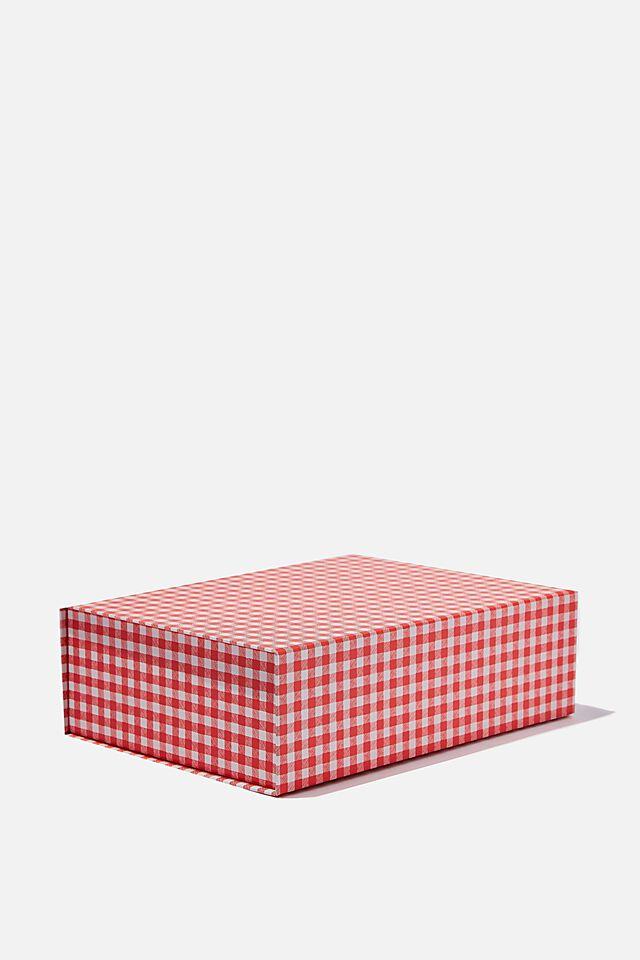 Flat Pack Box Medium, TRUE RED GINGHAM