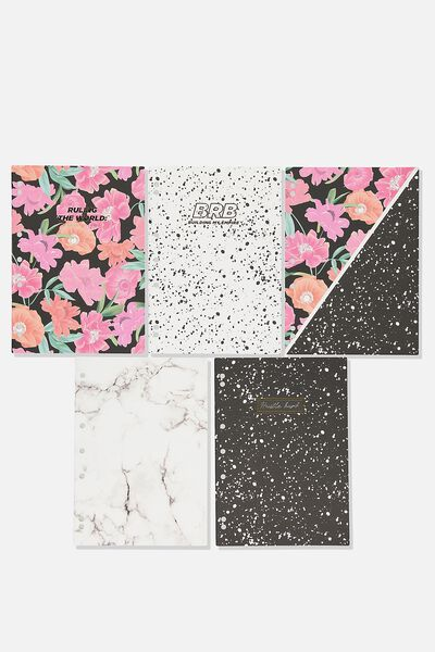 Work It Out Notebook pk 5, FLORAL SPLATTER