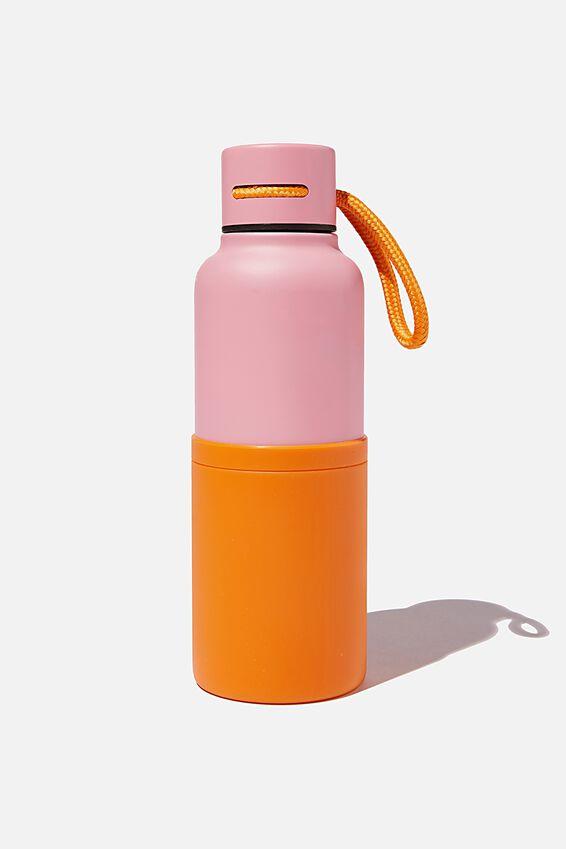 The Loop Metal Drink Bottle, PLASTIC PINK & VALENCIA