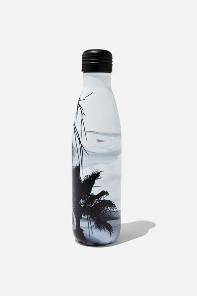 Metal Drink Bottle, BLACK & WHITE OCEAN SCENE
