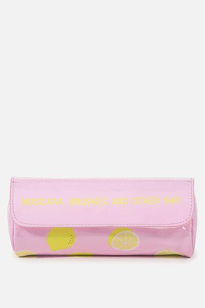 Roll Up Cosmetic Bag, LEMONS