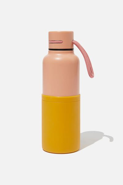 The Loop Metal Drink Bottle, PINK/MUSTARD