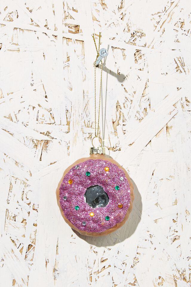 Small Glass Christmas Ornament, SPRINKLE DONUT