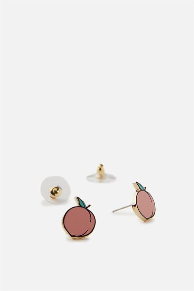 Novelty Earrings, PEACH STUDS