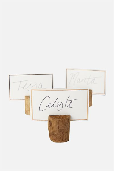 Name Cards & Holders, NATURAL DARK TIMBER