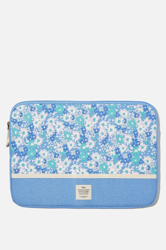 Canvas 13 Inch Laptop Case, RG DITSY CORNFLOWER WITH CORNFLOWER SPLICE