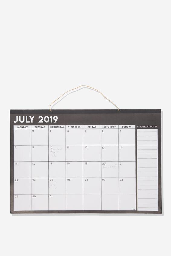 2019 20 A1 Hanging Calendar, BLACK