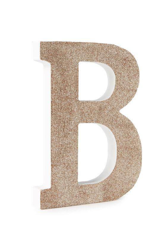Glitter Letterpress Letter, PALE GOLD GLITTER B