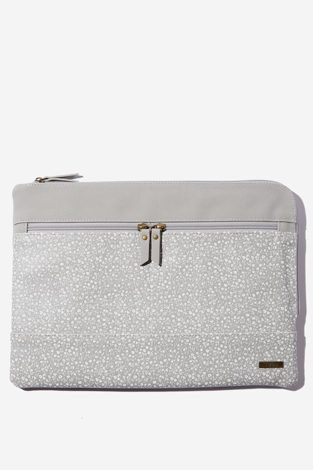 Oxford 13 Inch PU Laptop Case, COOL GREY MEADOW DITSY