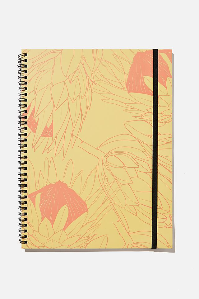 A4 Spinout Notebook Recycled, RG SAF PROTEA FLOWER