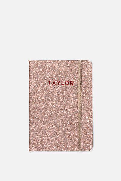 Personalised A6 Buffalo Journal, ROSE GOLD GLITTER