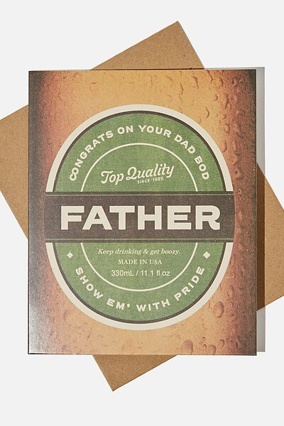 Fathers Day Card 2021, TOP QUALITY FATHER BEER LABEL!
