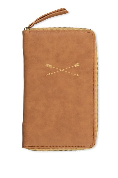First Class Travel Wallet, MID TAN ARROWS
