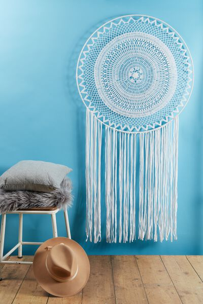 X-Large Dream Catcher, WHITE LACE